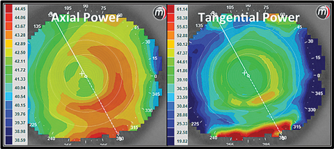 Fig. 2. These axial and tangential power maps show an eye wearing a +2.50 center distance soft multifocal lens design.